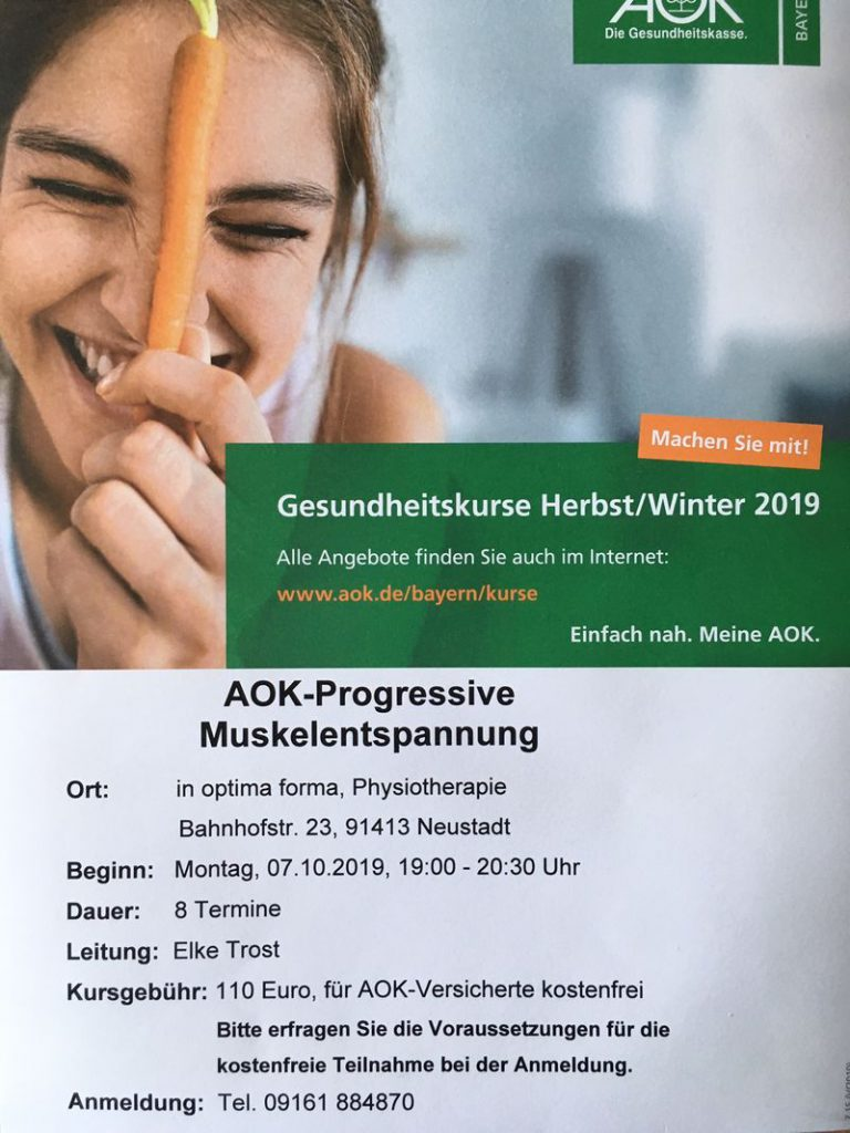 Progressive Muskelentspannung - Kurs in der Physiotherapiepraxis In Optima Forma Neustadt/Aisch